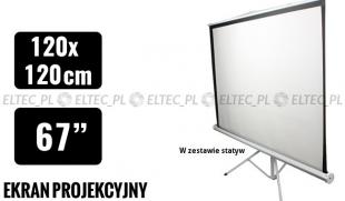 Ekran projekcyjny 120x120cm 4:3 manualny, statywowy