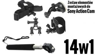 ZESTAW MONTAŻOWY 14w1 do kamer sportowych (Sony Action Cam)