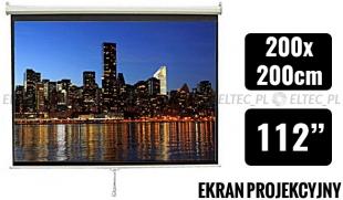 WYPRZEDAŻ Ekran projekcyjny 200x200cm 1:1 manualny, ścienny-sufitowy