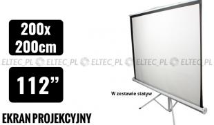 WYPRZEDAŻ Ekran projekcyjny 200x200cm 1:1 manualny, statywowy