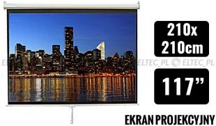 WYPRZEDAŻ Ekran projekcyjny 210x210cm 1:1 manualny, ścienny-sufitowy