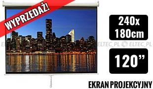 WYPRZEDAŻ Ekran projekcyjny 240x180cm 4:3 manualny, ścienny-sufitowy