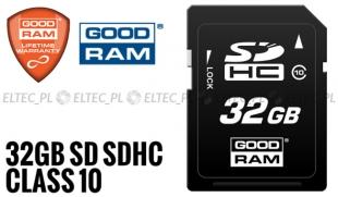 32GB Karta pamięci SD SDHC GOODRAM, Class 10