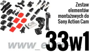 ZESTAW MONTAŻOWY 33w1 do kamer Sony Action Cam (akumulator BX1)