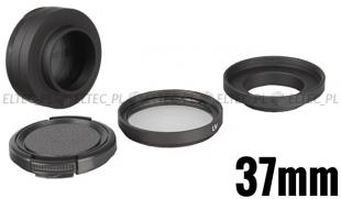 Zestaw ochronny (adapter, filtr, dekielek) 37mm do GoPro Hero 3, 3+ (GP120)