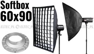 Softbox 60x90cm z Gridem, mocowanie Bowens