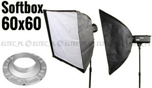 Softbox 60x60cm, mocowanie Bowens