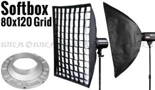 Softbox 80x120cm z Gridem, mocowanie Bowens