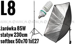 L8 ZESTAW: Lampa światła ciągłego + softbox 50x70cm na 1xE27 +żarówka 85W