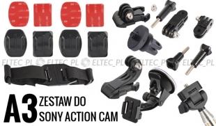 ZESTAW MONTAŻOWY A3 do kamer sportowych (Sony Action Cam)