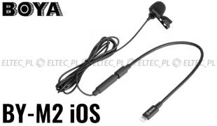 Mikrofon krawatowy pojemnościowy BOYA do urządzeń iOS, model BY-M2 (złącze Lightning)