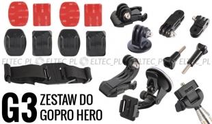 ZESTAW MONTAŻOWY G3 do GoPro Hero 1, 2, 3, 3+, 4, 5 SJ4000