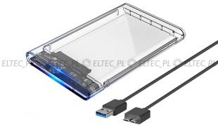 Kieszeń, obudowa na dysk HDD 2,5'' SATA USB przeźroczysta