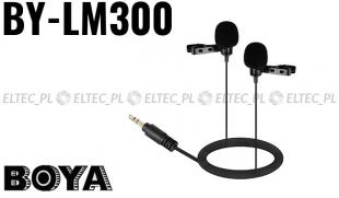 Mikrofon podwójny STEREO z klipsem BY-LM300, do kamer i lustrzanek