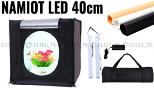 Namiot bezcieniowy sześcian 40cm LED czarny + 3 tła