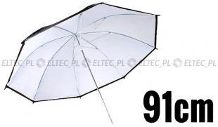 Parasolka odbijająca czarno-biała 91cm