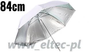 Parasolka odbijająca srebrno-biała 84cm