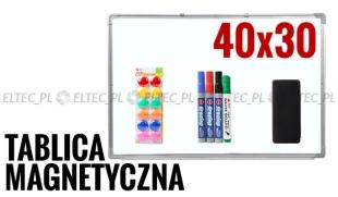 Tablica suchościeralna magnetyczna 40x30 + akcesoria
