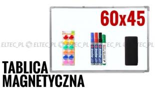 Tablica suchościeralna magnetyczna 60x45 + akcesoria