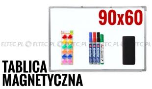 Tablica suchościeralna magnetyczna 90x60 + akcesoria