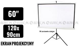Ekran projekcyjny 120x90cm 4:3 manualny, statywowy