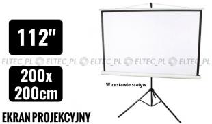 Ekran projekcyjny 200x200cm 4:3 manualny, statywowy