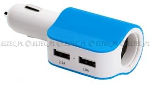 Zasilacz samochodowy USB x2 +zapalniczka