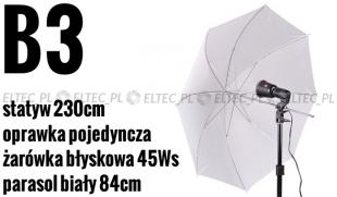 Zestaw oświetleniowy B3: żarówka błyskowa JH-5500, parasolka biała, statyw, oprawka