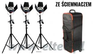 Zestaw oświetleniowy 3x lampa 800W Spot Light ze ściemniaczem, Red Head, 3x statyw + walizka